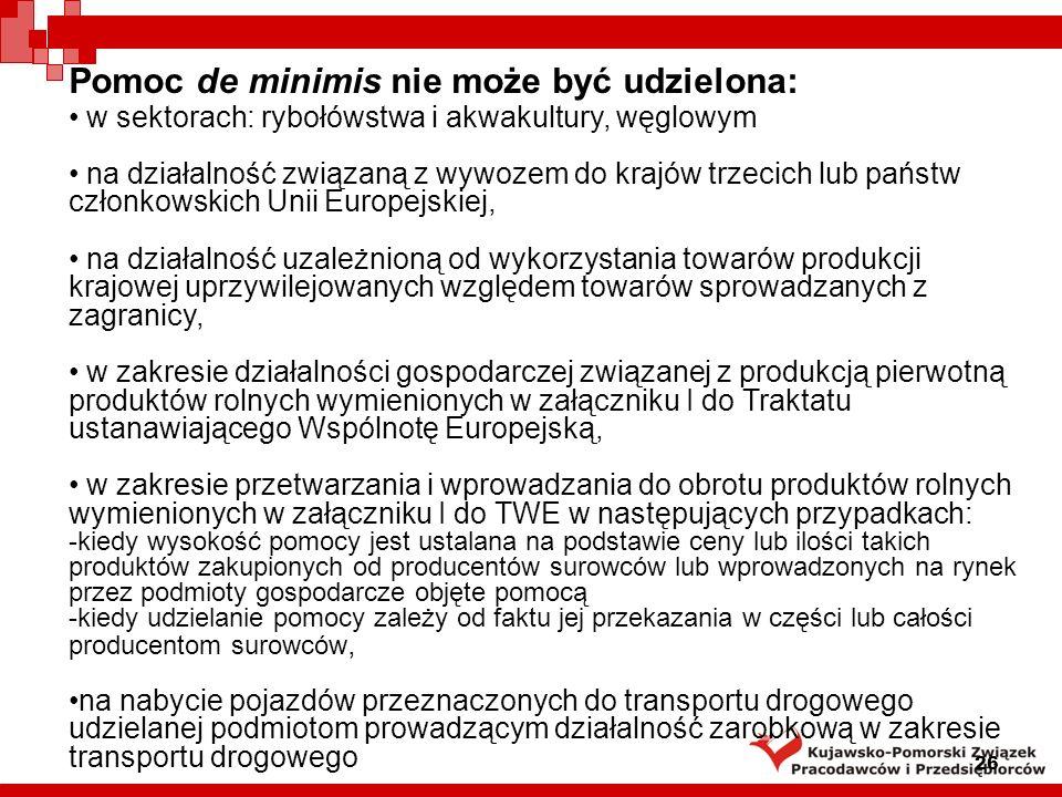 Pomoc de minimis nie może być udzielona: 26 w sektorach: rybołówstwa i akwakultury, węglowym na działalność związaną z wywozem do krajów trzecich lub