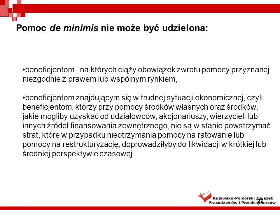 Pomoc de minimis nie może być udzielona: 27 beneficjentom, na których ciąży obowiązek zwrotu pomocy przyznanej niezgodnie z prawem lub wspólnym rynkie