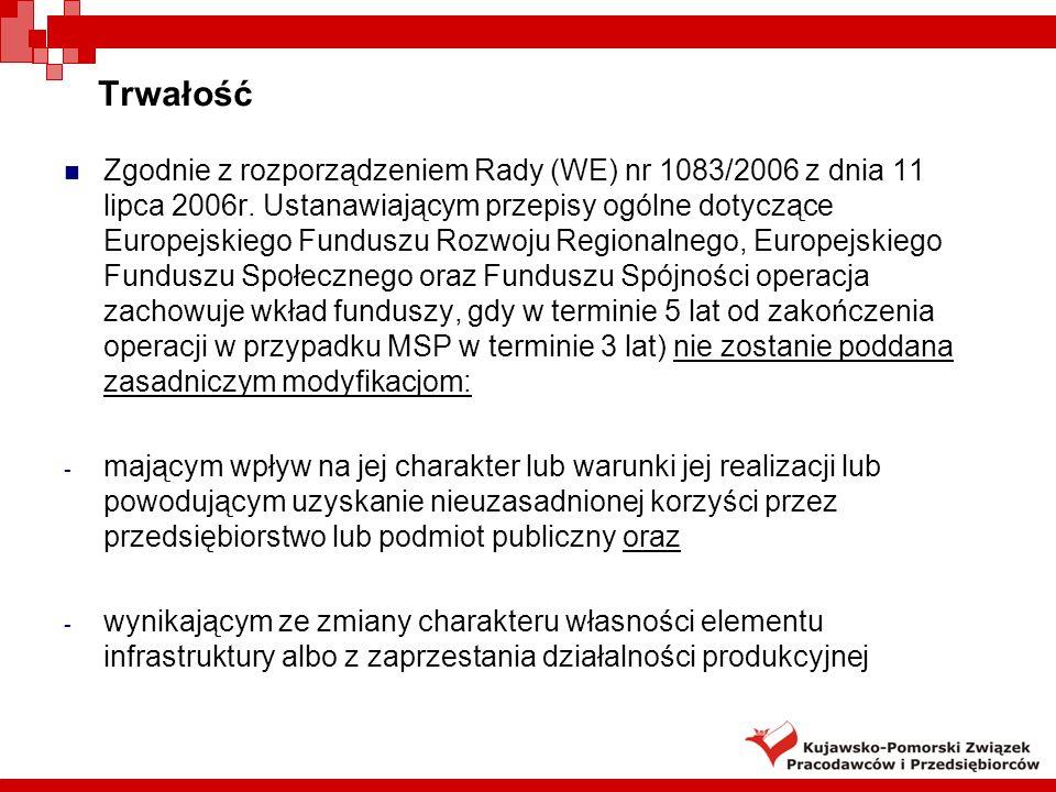 Trwałość Zgodnie z rozporządzeniem Rady (WE) nr 1083/2006 z dnia 11 lipca 2006r. Ustanawiającym przepisy ogólne dotyczące Europejskiego Funduszu Rozwo
