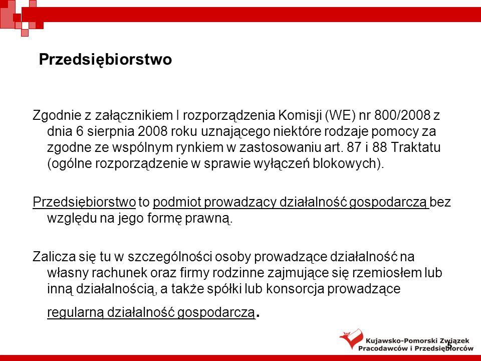 Przedsiębiorstwo Zgodnie z załącznikiem I rozporządzenia Komisji (WE) nr 800/2008 z dnia 6 sierpnia 2008 roku uznającego niektóre rodzaje pomocy za zg