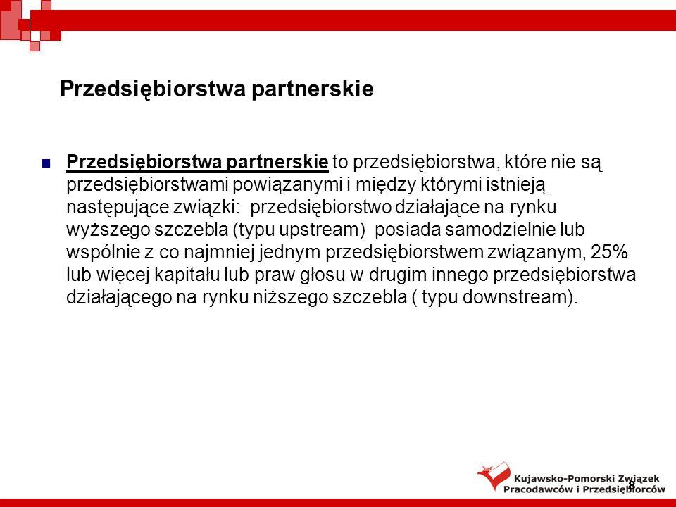 Przedsiębiorstwa partnerskie Przedsiębiorstwa partnerskie to przedsiębiorstwa, które nie są przedsiębiorstwami powiązanymi i między którymi istnieją n