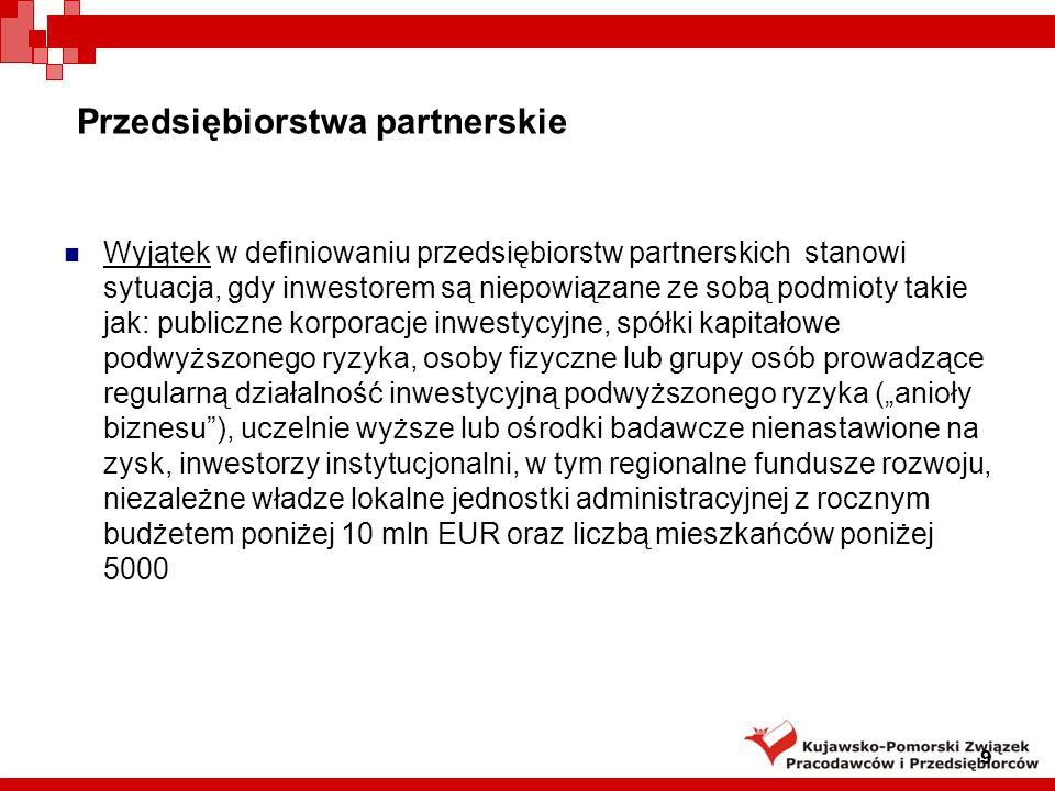 Przedsiębiorstwa partnerskie Wyjątek w definiowaniu przedsiębiorstw partnerskich stanowi sytuacja, gdy inwestorem są niepowiązane ze sobą podmioty tak