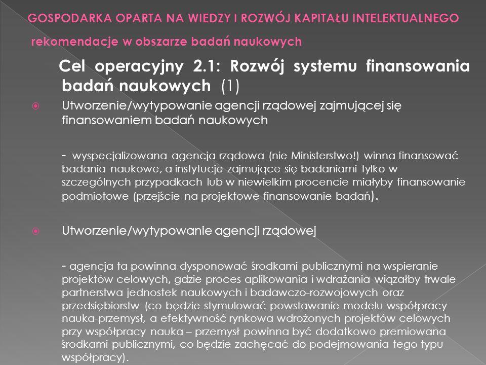 Cel operacyjny 2.1: Rozwój systemu finansowania badań naukowych (1) Utworzenie/wytypowanie agencji rządowej zajmującej się finansowaniem badań naukowy