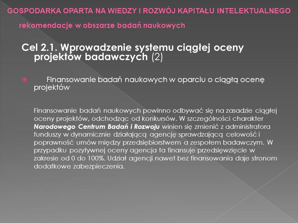 Cel 2.1. Wprowadzenie systemu ciągłej oceny projektów badawczych (2) Finansowanie badań naukowych w oparciu o ciągłą ocenę projektów Finansowanie bada