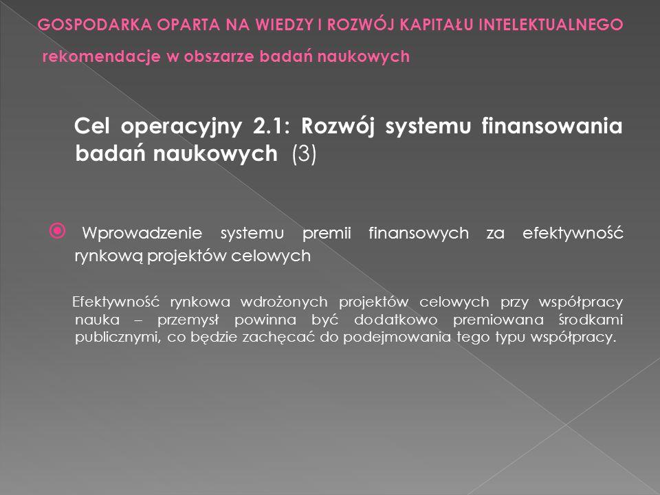 Cel operacyjny 2.1: Rozwój systemu finansowania badań naukowych (3) Wprowadzenie systemu premii finansowych za efektywność rynkową projektów celowych
