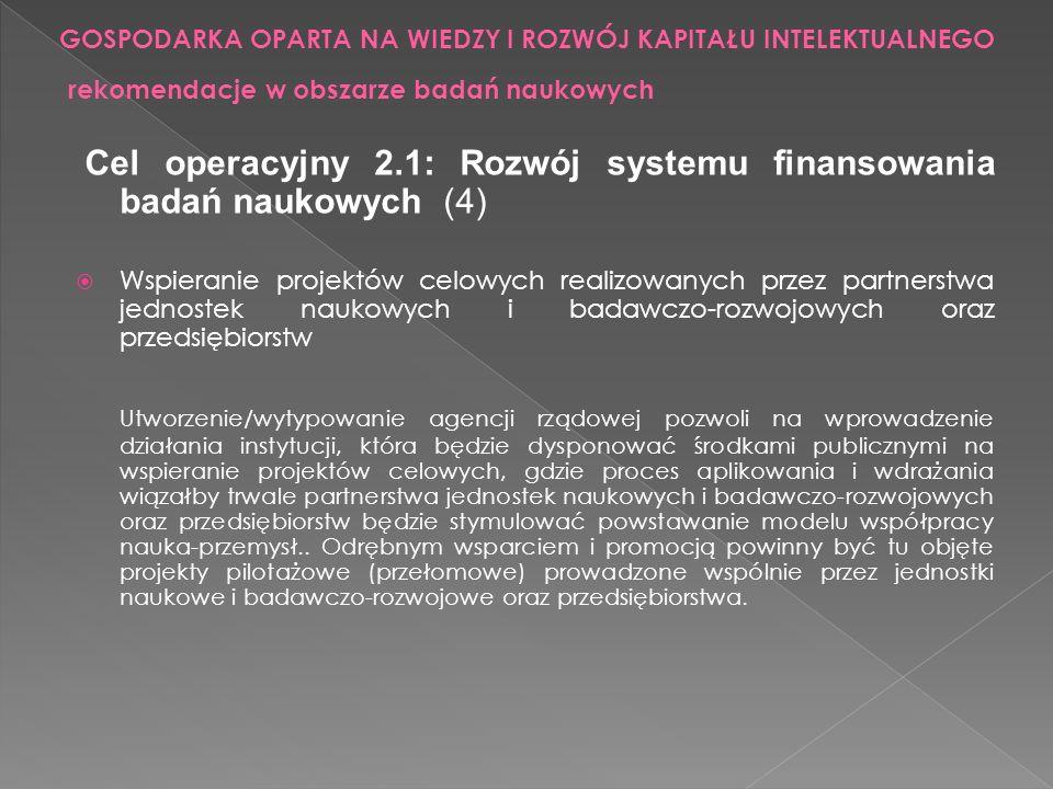 Cel operacyjny 2.1: Rozwój systemu finansowania badań naukowych (4) Wspieranie projektów celowych realizowanych przez partnerstwa jednostek naukowych