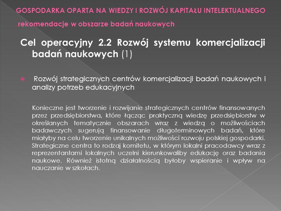 Cel operacyjny 2.2 Rozwój systemu komercjalizacji badań naukowych (1) Rozwój strategicznych centrów komercjalizacji badań naukowych i analizy potrzeb