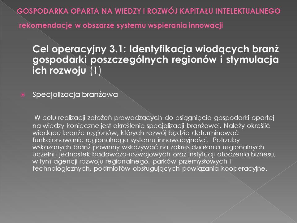 Cel operacyjny 3.1: Identyfikacja wiodących branż gospodarki poszczególnych regionów i stymulacja ich rozwoju (1) Specjalizacja branżowa W celu realiz