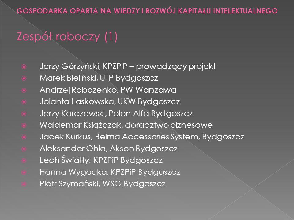 Jerzy Górzyński, KPZPiP – prowadzący projekt Marek Bieliński, UTP Bydgoszcz Andrzej Rabczenko, PW Warszawa Jolanta Laskowska, UKW Bydgoszcz Jerzy Karc