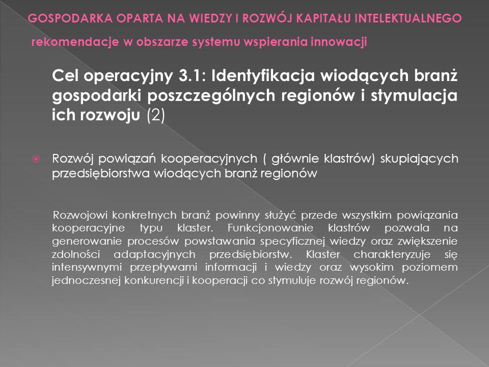 Cel operacyjny 3.1: Identyfikacja wiodących branż gospodarki poszczególnych regionów i stymulacja ich rozwoju (2) Rozwój powiązań kooperacyjnych ( głó