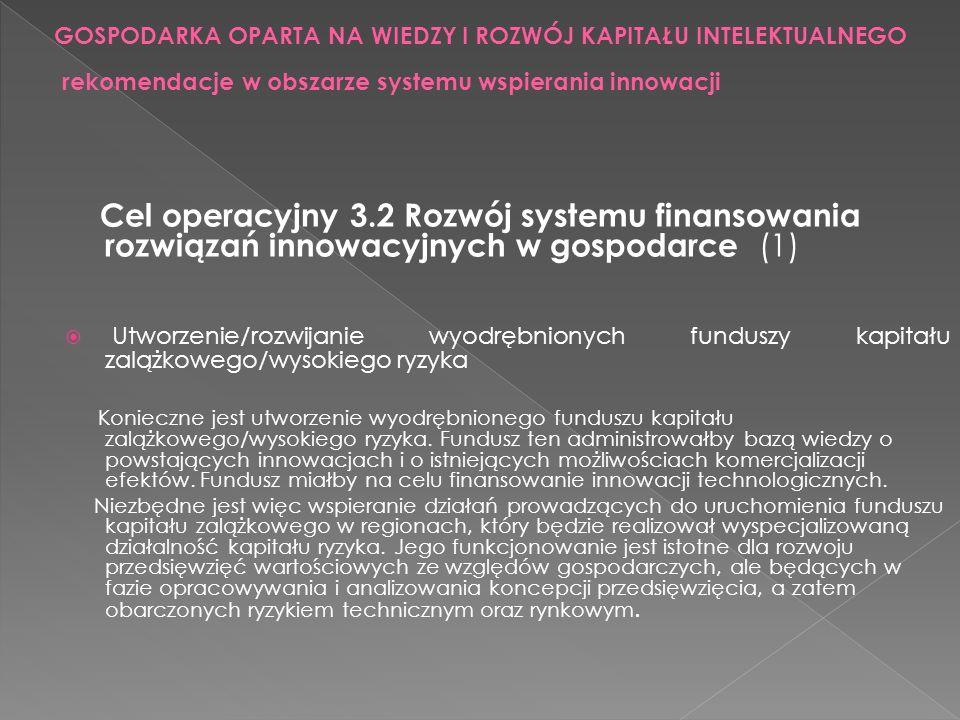 Cel operacyjny 3.2 Rozwój systemu finansowania rozwiązań innowacyjnych w gospodarce (1) Utworzenie/rozwijanie wyodrębnionych funduszy kapitału zalążko