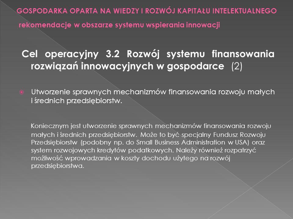 Cel operacyjny 3.2 Rozwój systemu finansowania rozwiązań innowacyjnych w gospodarce (2) Utworzenie sprawnych mechanizmów finansowania rozwoju małych i