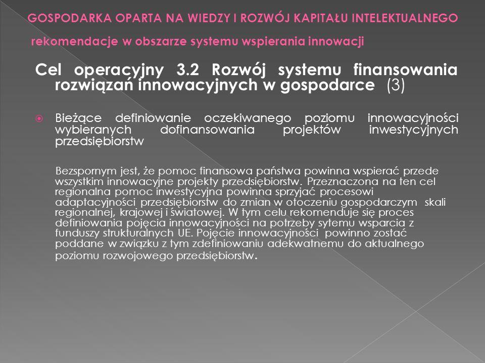Cel operacyjny 3.2 Rozwój systemu finansowania rozwiązań innowacyjnych w gospodarce (3) Bieżące definiowanie oczekiwanego poziomu innowacyjności wybie
