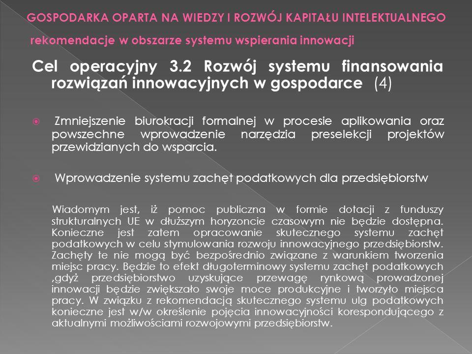 Cel operacyjny 3.2 Rozwój systemu finansowania rozwiązań innowacyjnych w gospodarce (4) Zmniejszenie biurokracji formalnej w procesie aplikowania oraz