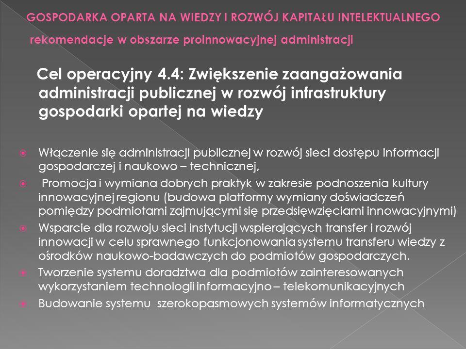 Cel operacyjny 4.4: Zwiększenie zaangażowania administracji publicznej w rozwój infrastruktury gospodarki opartej na wiedzy Włączenie się administracj