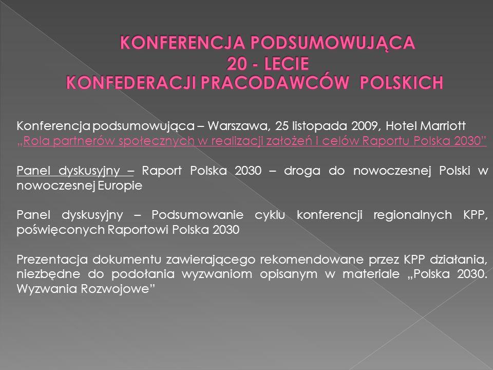 Konferencja podsumowująca – Warszawa, 25 listopada 2009, Hotel Marriott Rola partnerów społecznych w realizacji założeń i celów Raportu Polska 2030 Pa