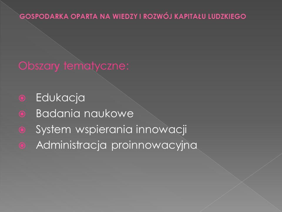 Obszar y tematyczne: Edukacja Badania naukowe System wspierania innowacji Administracja proinnowacyjna GOSPODARKA OPARTA NA WIEDZY I ROZWÓJ KAPITAŁU L