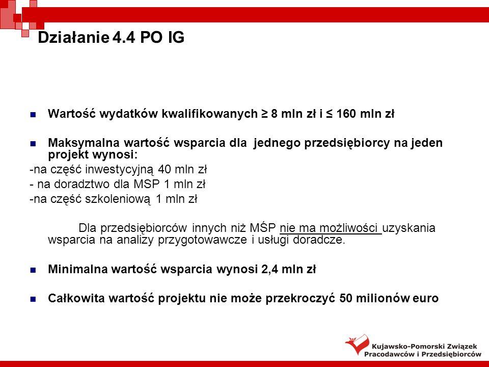 Działanie 4.4 PO IG Intensywność wsparcia: -na inwestycje zgodnie z mapą pomocy regionalnej - maks.