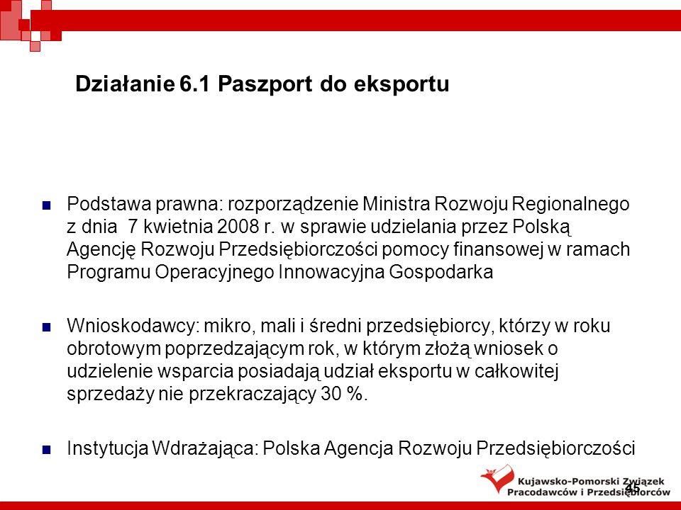 Działanie 6.1 Paszport do eksportu Projekty realizowane oddzielnie w dwóch kolejnych etapach.