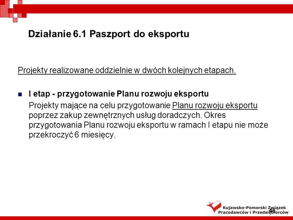 Działanie 6.1 Paszport do eksportu II etap - wdrożenie Planu rozwoju eksportu Projekty mające na celu wdrożenie Planu rozwoju eksportu przy wykorzystaniu możliwych do wyboru instrumentów proeksportowych.