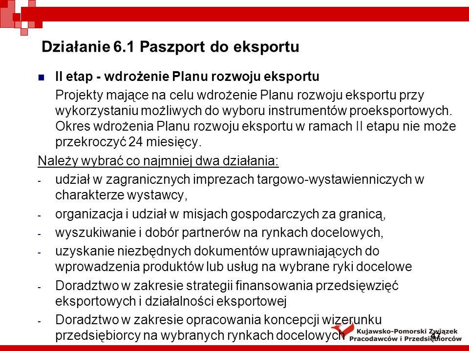 Działanie 6.1 Paszport do eksportu I etap - przygotowanie Planu rozwoju eksportu.