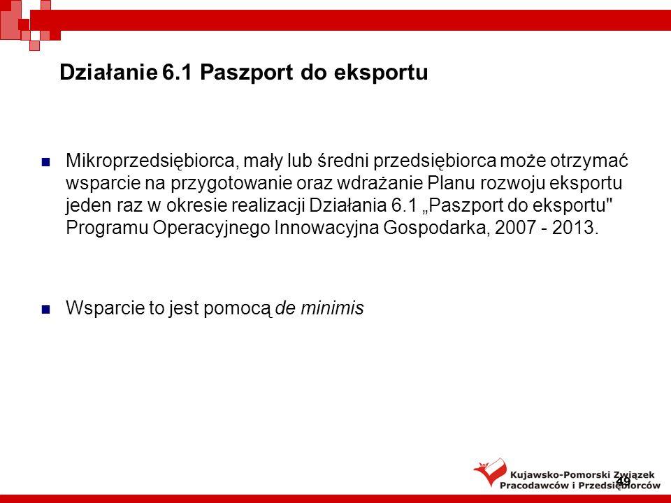 Działanie 6.1 Paszport do eksportu Najbliższe konkursy: W 2009 roku odbędą się 2 rundy aplikacyjne.