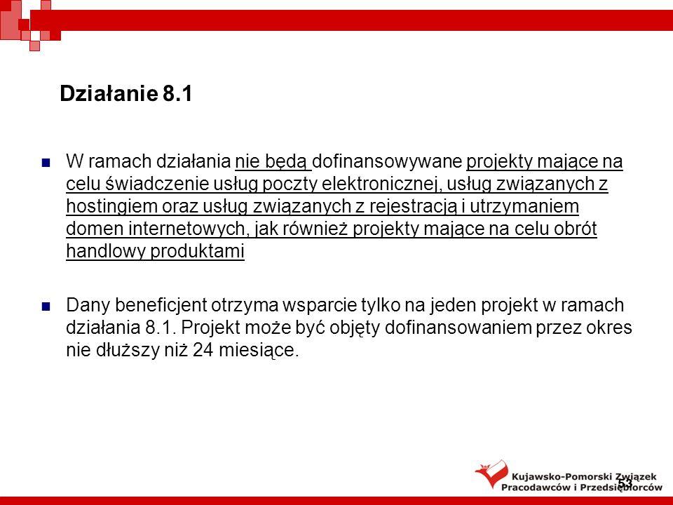 Działanie 8.1 Wnioskodawcy: Przedsiębiorcy z grupy mikro- i małych przedsiębiorców prowadzący działalność gospodarczą i posiadający siedzibę na terytorium Rzeczypospolitej Polskiej, a w przypadku osoby fizycznej – miejsce zamieszkania na terenie Rzeczypospolitej Polskiej, prowadzący działalność gospodarczą nie dłużej niż 1 rok licząc od dnia wpisu przedsiębiorcy do Krajowego Rejestru Sądowego albo Ewidencji Działalności Gospodarczej, a w przypadku spółek kapitałowych w organizacji – od dnia zawarcia umowy spółki z o.