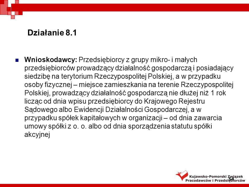 Działanie 8.1 Instytucja Wdrażająca: Polska Agencja Rozwoju Przedsiębiorczości Podstawa prawna: rozporządzenie Ministra Rozwoju Regionalnego z dnia 13 sierpnia 2008 r.