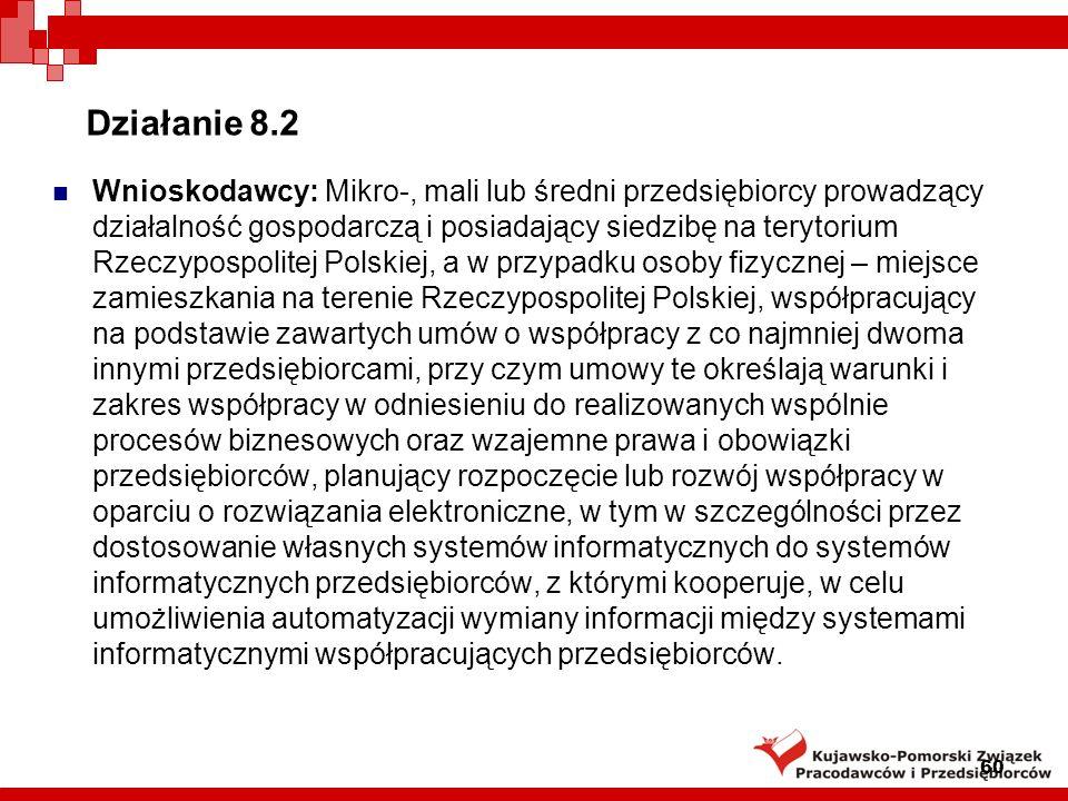 Działanie 8.2 Instytucja Wdrażająca: Polska Agencja Rozwoju Przedsiębiorczości Podstawa prawna: rozporządzenie Ministra Rozwoju Regionalnego z dnia 13 sierpnia 2008 r.