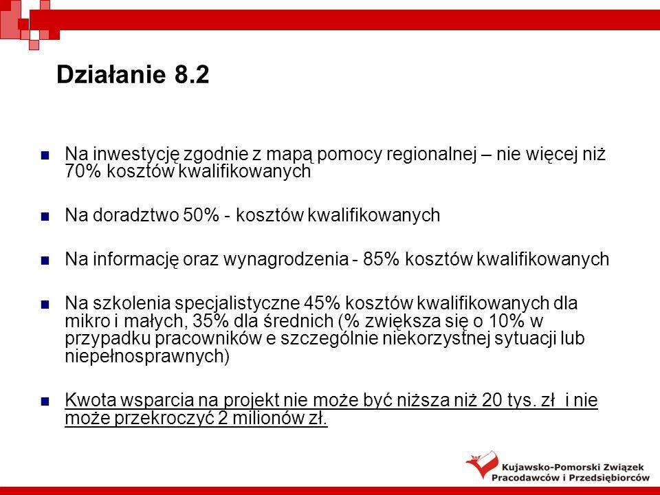 Działanie 8.2 Najbliższe terminy konkursów: 1) 23 lutego 2009 –ogłoszenie konkursu 9 marca 2009 – nabór wniosków 2) Czerwiec 2009 3) Wrzesień 2009 Instytucja Wdrażająca :Polska Agencja Rozwoju Przedsiębiorczości www.parp.gov.pl 63