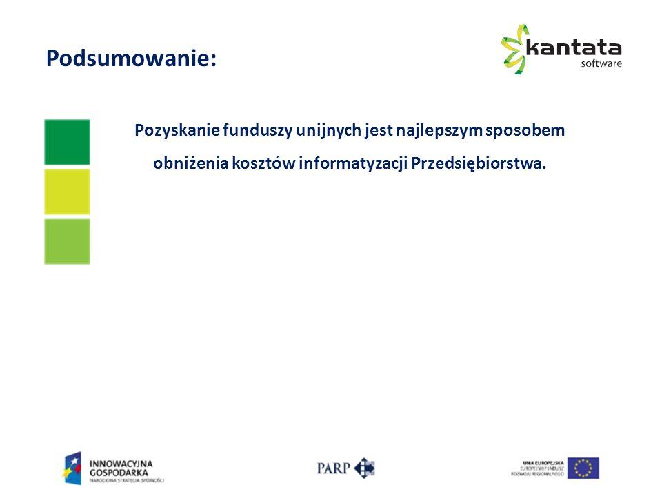 Pozyskanie funduszy unijnych jest najlepszym sposobem obniżenia kosztów informatyzacji Przedsiębiorstwa. Podsumowanie: