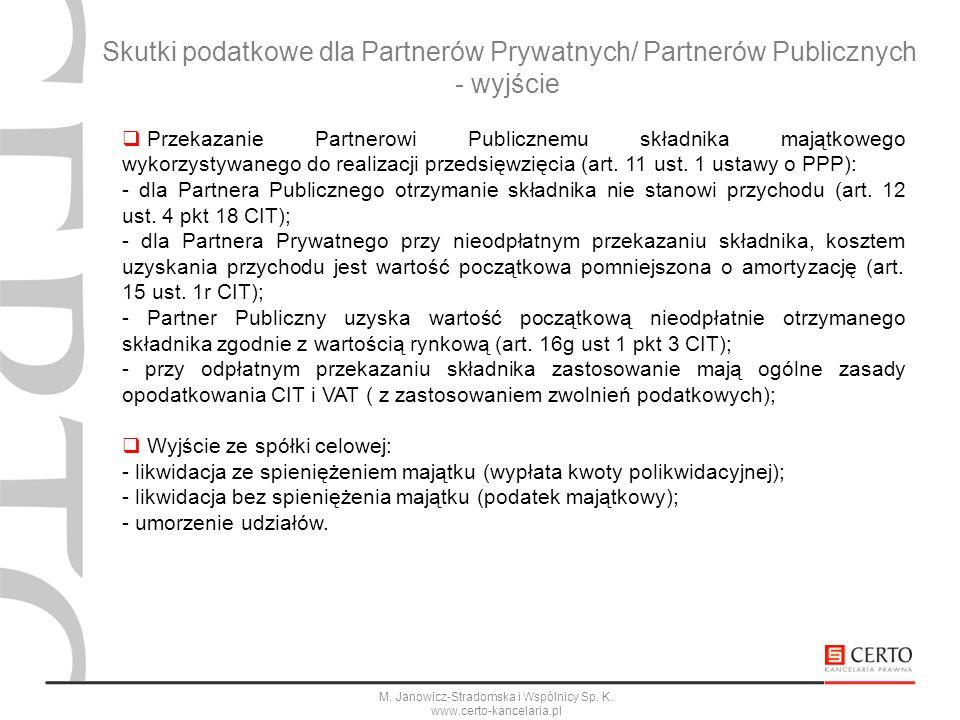 M. Janowicz-Stradomska i Wspólnicy Sp. K. www.certo-kancelaria.pl Skutki podatkowe dla Partnerów Prywatnych/ Partnerów Publicznych - wyjście Przekazan