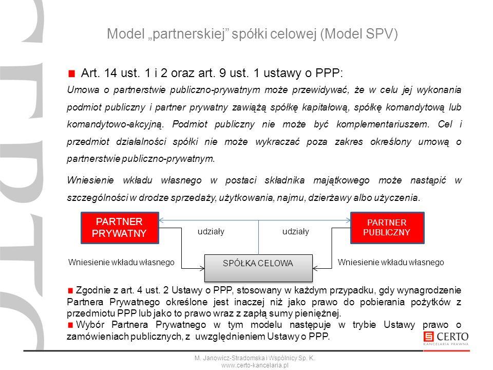 M. Janowicz-Stradomska i Wspólnicy Sp. K. www.certo-kancelaria.pl Art. 14 ust. 1 i 2 oraz art. 9 ust. 1 ustawy o PPP: Umowa o partnerstwie publiczno-p