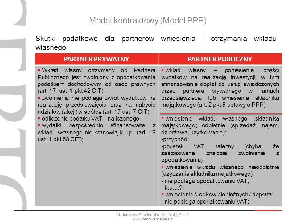M. Janowicz-Stradomska i Wspólnicy Sp. K. www.certo-kancelaria.pl Model kontraktowy (Model PPP) Skutki podatkowe dla partnerów wniesienia i otrzymania
