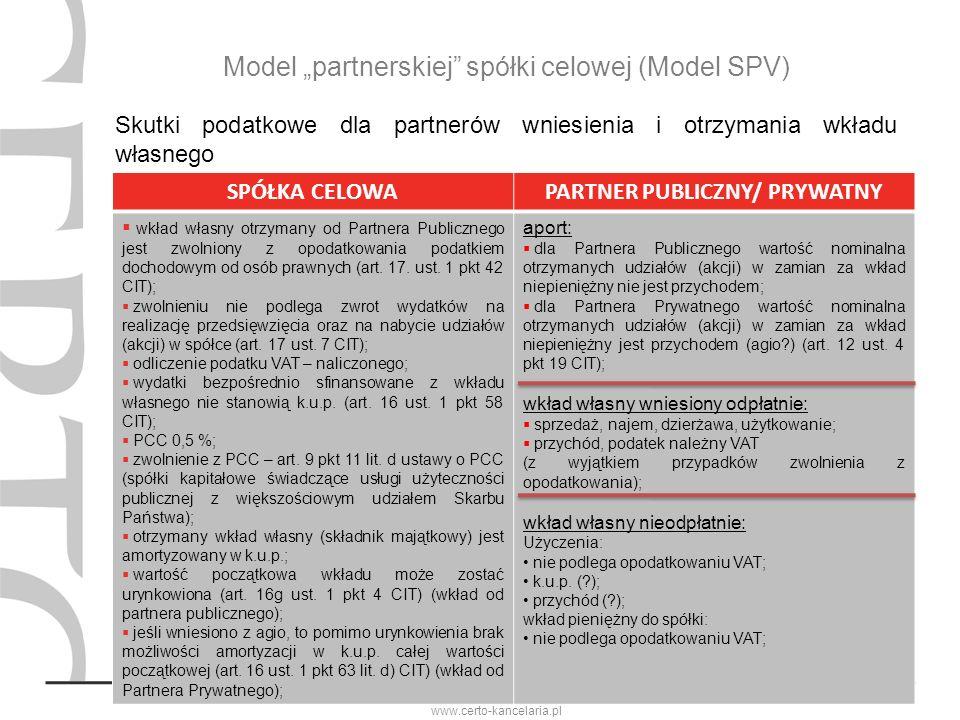 M. Janowicz-Stradomska i Wspólnicy Sp. K. www.certo-kancelaria.pl Model partnerskiej spółki celowej (Model SPV) Skutki podatkowe dla partnerów wniesie