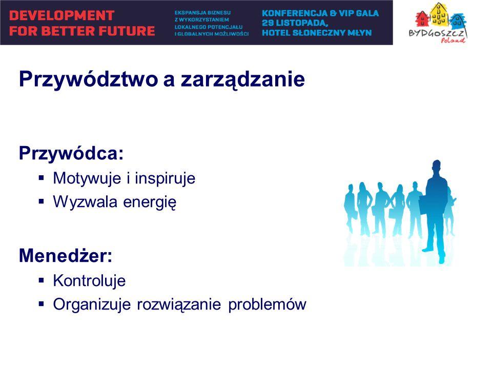 Przywódca: Motywuje i inspiruje Wyzwala energię Menedżer: Kontroluje Organizuje rozwiązanie problemów Przywództwo a zarządzanie