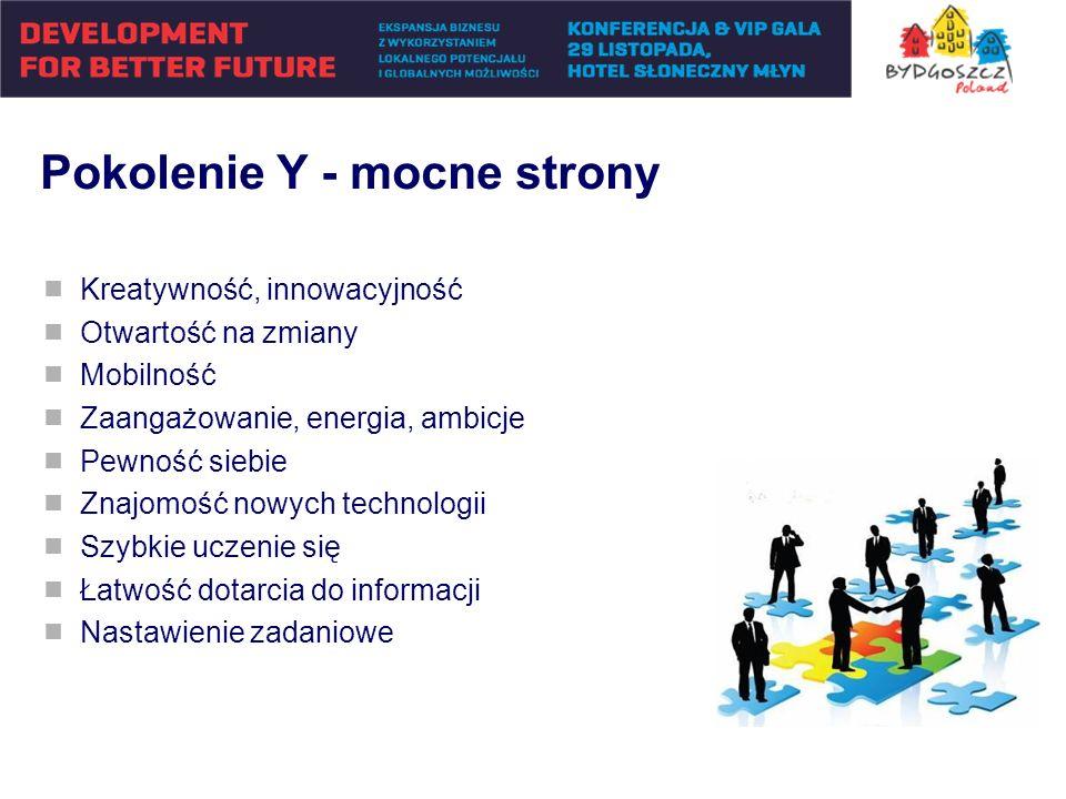 Pokolenie Y - mocne strony Kreatywność, innowacyjność Otwartość na zmiany Mobilność Zaangażowanie, energia, ambicje Pewność siebie Znajomość nowych te