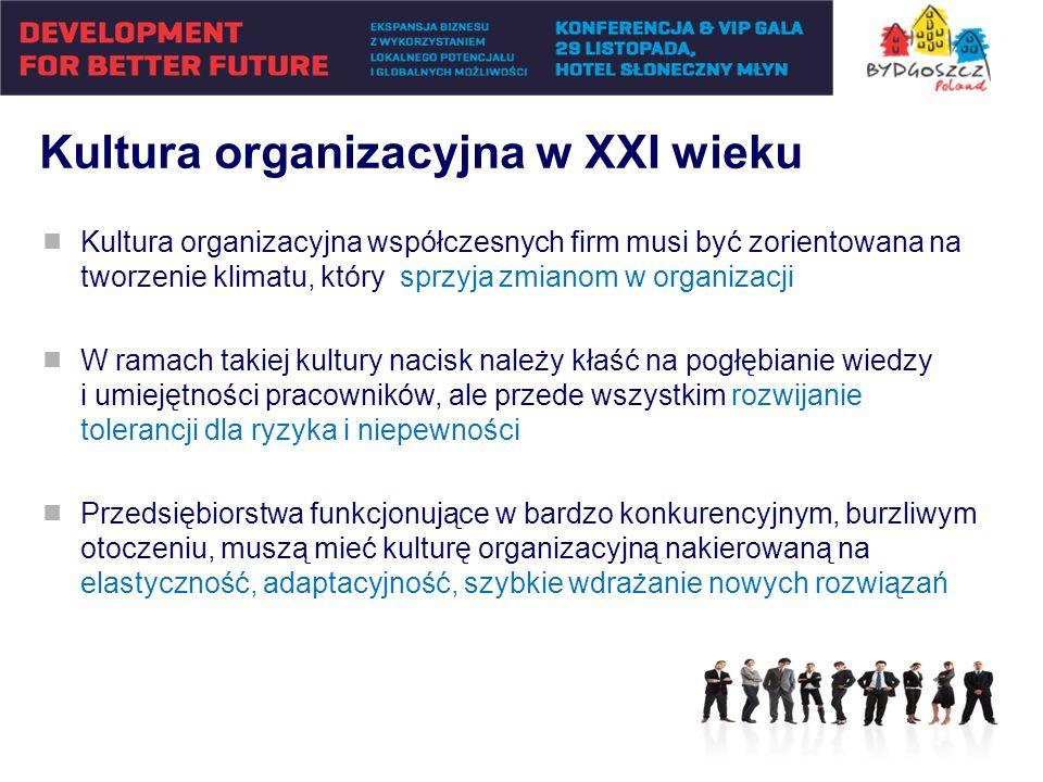 Kultura organizacyjna w XXI wieku Kultura organizacyjna współczesnych firm musi być zorientowana na tworzenie klimatu, który sprzyja zmianom w organiz
