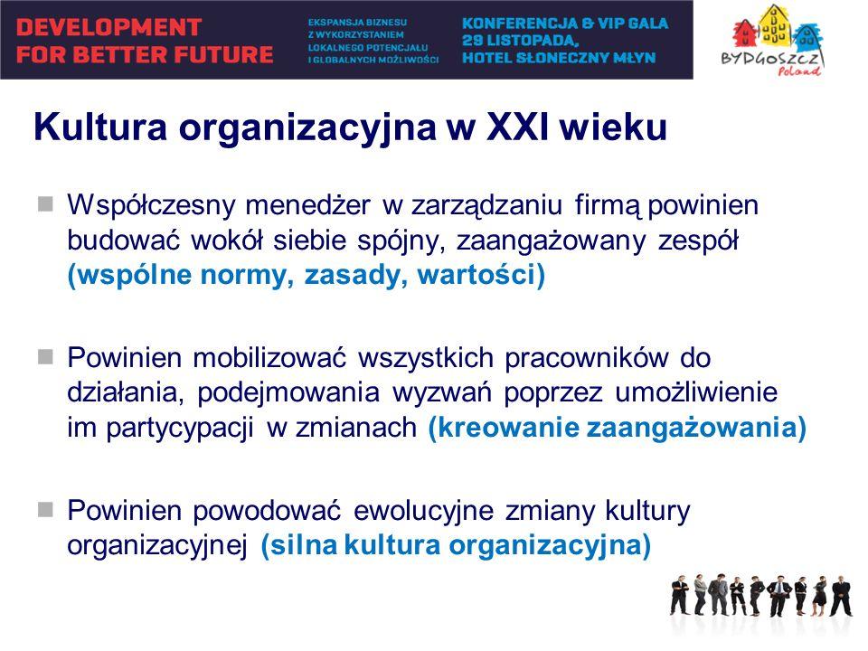 Kultura organizacyjna w XXI wieku Współczesny menedżer w zarządzaniu firmą powinien budować wokół siebie spójny, zaangażowany zespół (wspólne normy, z