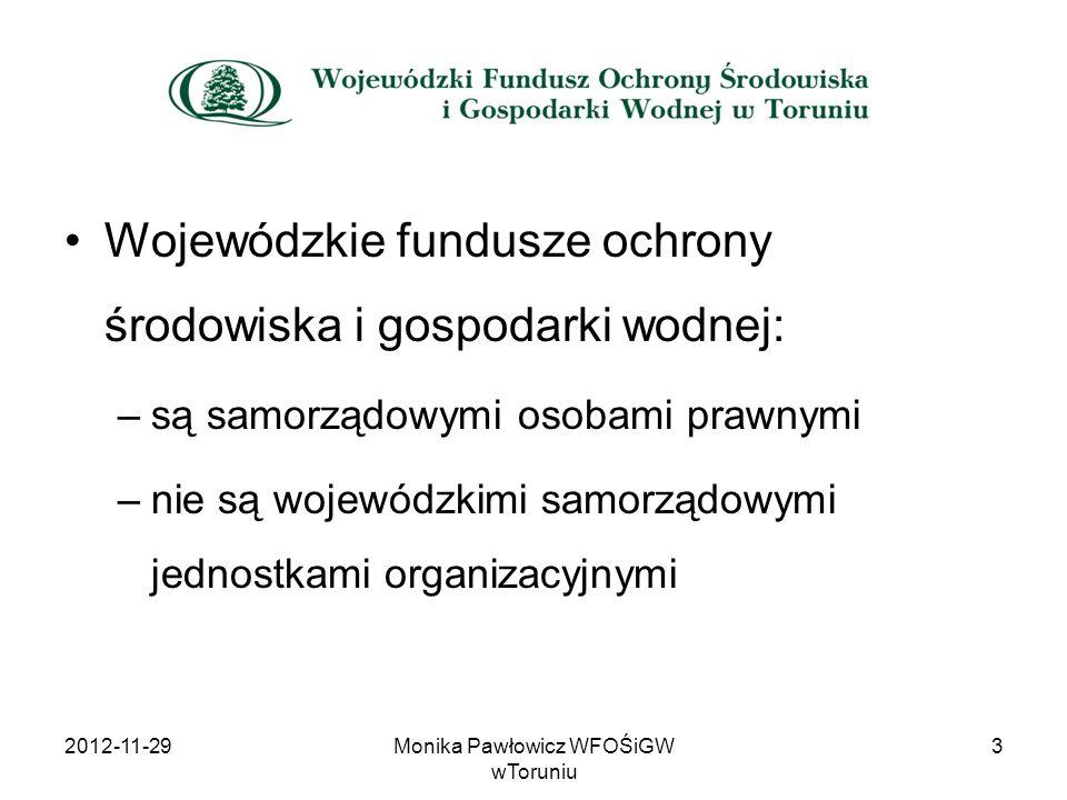 Wojewódzki Fundusz ze swoich środków nie finansuje: 1.wykupu gruntu pod inwestycje, z wyłączeniem gruntów wykupywanych przez Regionalną Dyrekcję Ochrony Środowiska w Bydgoszczy w celu zachowania siedlisk przyrodniczych gatunków chronionych i powiększenia powierzchni istniejących form ochrony przyrody, 2.kosztów nadzoru, 3.kosztów instrukcji eksploatacji, rozruchu itp., 4.podatku VAT, jeżeli nie stanowi on kosztu u kontrahenta, 5.opłat związanych z uzyskaniem pozwoleń i decyzji administracyjnych, 6.odszkodowań, kar pieniężnych administracyjnych, kar umownych wraz z odsetkami, kosztów postępowania sądowego i egzekucyjnego.
