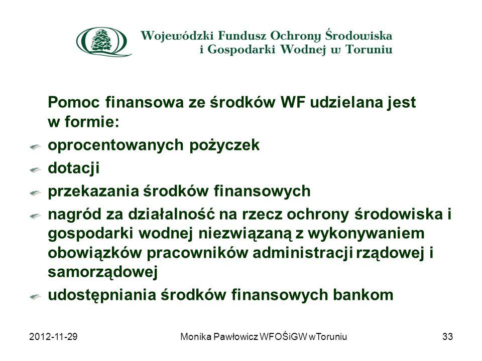Pomoc finansowa ze środków WF udzielana jest w formie: oprocentowanych pożyczek dotacji przekazania środków finansowych nagród za działalność na rzecz