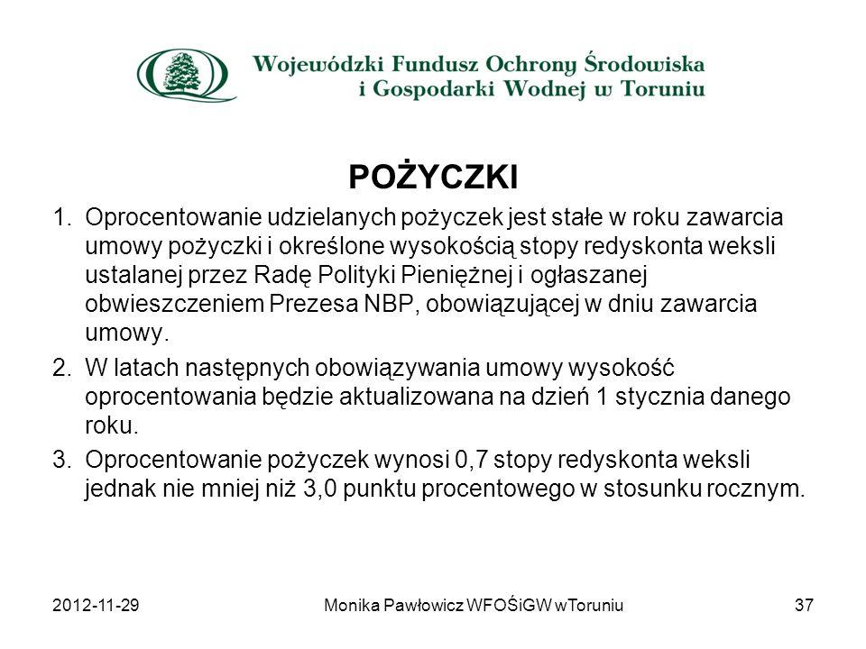 2012-11-2937Monika Pawłowicz WFOŚiGW wToruniu POŻYCZKI 1.Oprocentowanie udzielanych pożyczek jest stałe w roku zawarcia umowy pożyczki i określone wys