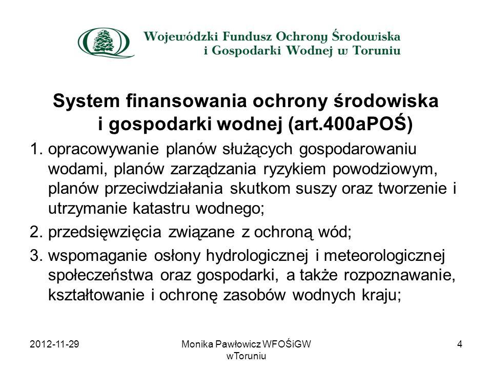 System finansowania ochrony środowiska i gospodarki wodnej (art.400aPOŚ) 1.opracowywanie planów służących gospodarowaniu wodami, planów zarządzania ry