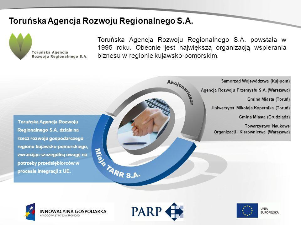 Toruńska Agencja Rozwoju Regionalnego S.A. Toruńska Agencja Rozwoju Regionalnego S.A. działa na rzecz rozwoju gospodarczego regionu kujawsko-pomorskie