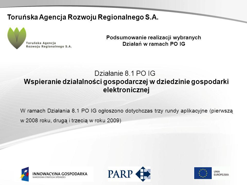 Toruńska Agencja Rozwoju Regionalnego S.A. Podsumowanie realizacji wybranych Działań w ramach PO IG Działanie 8.1 PO IG Wspieranie działalności gospod