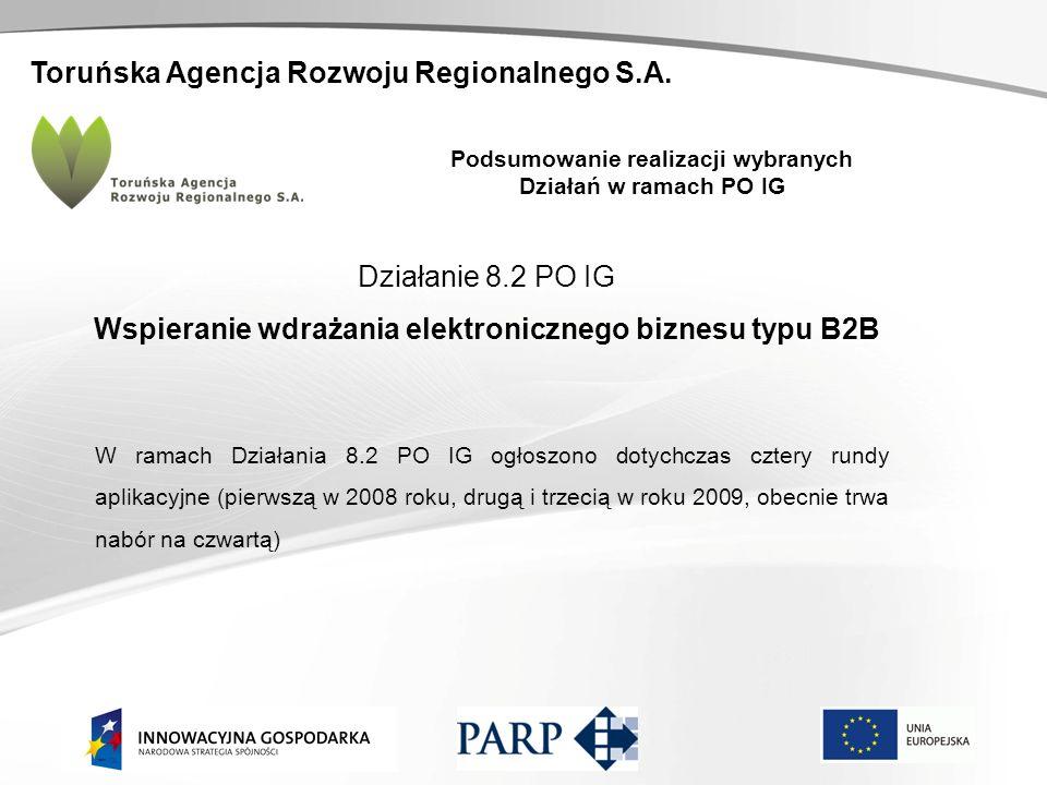 Toruńska Agencja Rozwoju Regionalnego S.A. Podsumowanie realizacji wybranych Działań w ramach PO IG Działanie 8.2 PO IG Wspieranie wdrażania elektroni