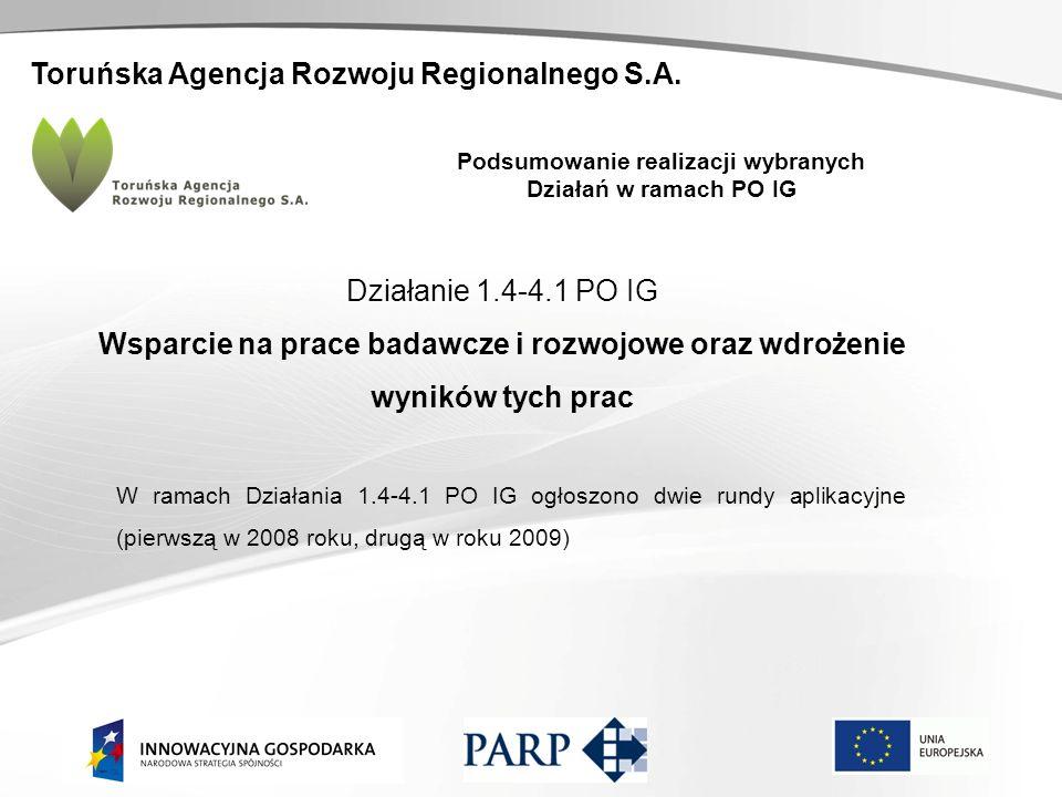 Toruńska Agencja Rozwoju Regionalnego S.A. Podsumowanie realizacji wybranych Działań w ramach PO IG Działanie 1.4-4.1 PO IG Wsparcie na prace badawcze