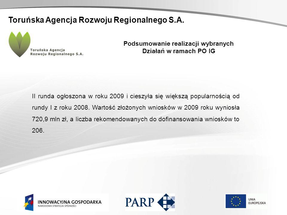 Toruńska Agencja Rozwoju Regionalnego S.A. Podsumowanie realizacji wybranych Działań w ramach PO IG II runda ogłoszona w roku 2009 i cieszyła się więk