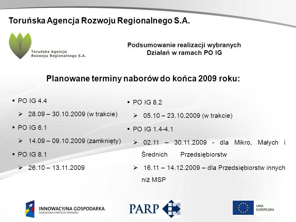 Toruńska Agencja Rozwoju Regionalnego S.A. Podsumowanie realizacji wybranych Działań w ramach PO IG Planowane terminy naborów do końca 2009 roku: PO I