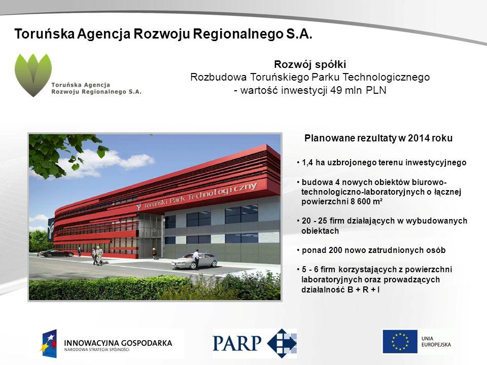 Toruńska Agencja Rozwoju Regionalnego S.A. Rozwój spółki Rozbudowa Toruńskiego Parku Technologicznego - wartość inwestycji 49 mln PLN Planowane rezult